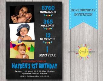 Custom Printable Boy Birthday Photo Invitation 1st Birthday Milestone Chalkboard