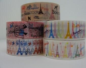 Set of 5 Paris adhesive tape Eiffel Tower 5 m/5.46 yards crafting decorative tape cardmaking tape scrapbook tape Paris tape