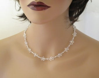 Swarovski crystal and pearl bridal necklace, Simple crystal wedding necklace