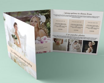 Photography trifold brochure template elegant promotional brochure design photoshop wedding photography instant download trifold brochure