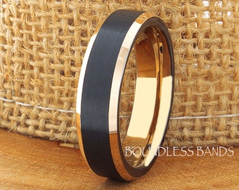 Tungsten Wedding Ring Black Rose Gold Beveled Edges 6mm Tungsten Ring Anniversary Ring Promise Ring Comfort Fit Free Laser Engraving