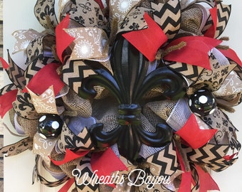 Summer Wreath Fleur de Lis Wreath Spring Wreath Everyday Wreath Deco Mesh  Wreath ** MADE TO ORDER **