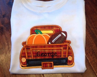 Fall pickup truck - pumpkin - football