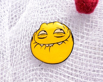 Smile brooch FREE SHIPPING smile pin smile jewelry, smile clay pin, meme brooch meme pin.