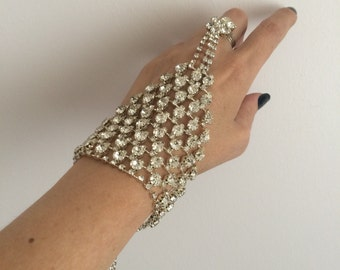 Silver Hand Chain, Wedding Bracelet, Slave Ring Bracelet,  Hand Jewelry, Bridal Jewelry