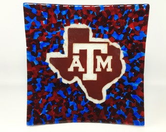 Texas Aggie Red, White and Blue Platter