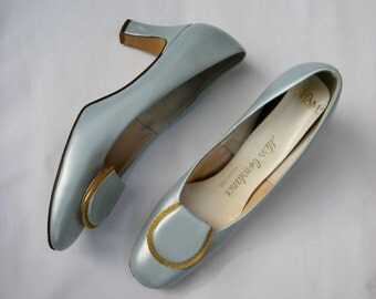 Vintage 50s shoes, light blue pump, Miss Constance pumps, light blue shoe, silver blue pump