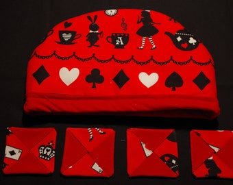 Alice in Wonderland Tea Cosy with Coasters