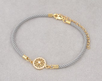 Ships Wheel dainty friendship bracelet, Gold plated (Ash colour)