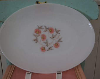 Vintage Fire King Fleurette Floral Milk Glass Serving Tray