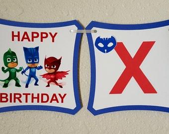 Pj Mask 2 in 1 Birthday Banner, Pj Mask Party, Pj Mask Decor, Pj Mask Supplies, PJ Mask Banner, PJ Mask Favors, PJ Mask, Super Hero