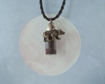 Bear Pendant - Bear Charm - Bear Totem - Bear Spirit - Bear Necklace - Wildlife Jewelry - Ursa - Earth Element - Bear Fur - Cruelty-free