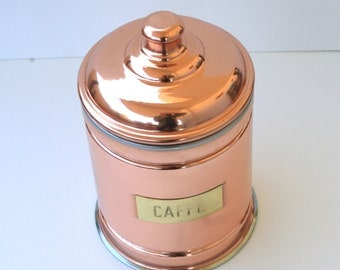 Tin/Copper container for coffee, sugar, salt