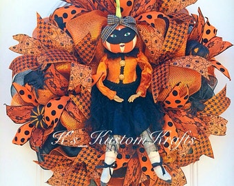 Halloween wreath, character wreath, pumpkin wreath