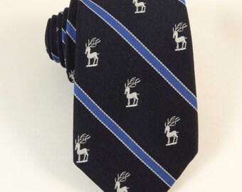 Deer Logo Striped Tie Reindeer Christmas Pegasus Vintage Skinny Necktie