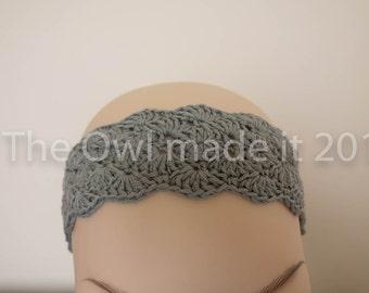 Grey headband, boho headband, crochet headband, summer headband, fashion accessories, gift for her, gift for teen, UK sellers only