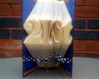 Book folding art pattern for a 21st birthday / anniversary celebration