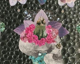 Skull Crush Original Collage Print