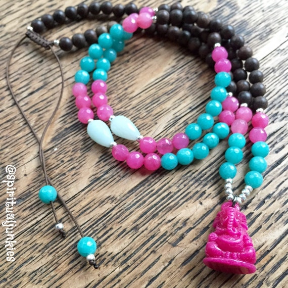 108 Bead Agarwood, Pink + Teal Dyed Jade + Hot Pink Ganesh Pendant Yoga and Meditation Mini Mala with Sterling Silver Plated Seed Beads