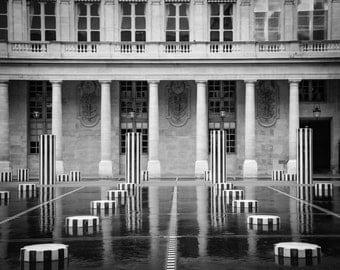 "Paris Photography, Black & White, Palais Royal, Rainy Day Print, Reflection, Architecture, Home Decor, ""Reflections at the Palais Royal - 2"""