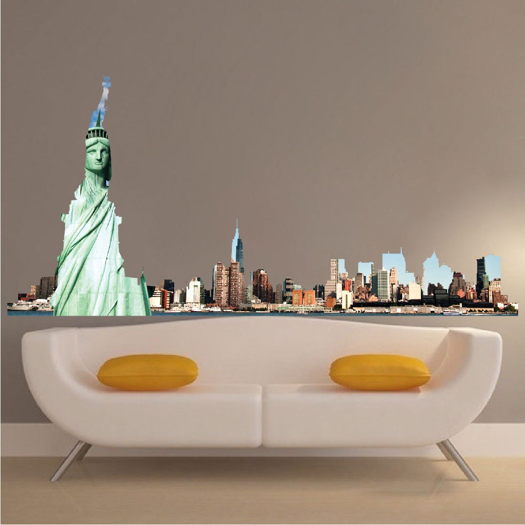 nyc skyline mural decal new york skyline wall decal new york. Black Bedroom Furniture Sets. Home Design Ideas