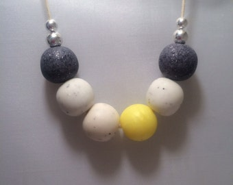 Yellow, White & Granite Polymer Clay Beaded Necklace
