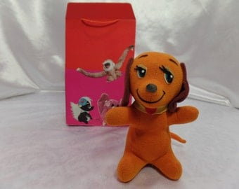 Vintage 1960's Dakin Dream Pets Stuffed Animal Made in Japan for R. Dakin & Company-Orange Dog with Collar-Includes Vintage Kamar gift Box!