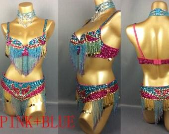 FREE SHIPPING hand beaded belly dance costume  bra belt Neck 3pcs