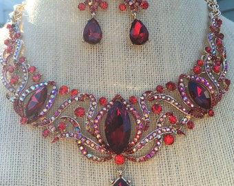Fabulous Ruby Red Rhinestone Statement Bib Necklace and Earring Set...Wedding / Bride / Bridal / Bridesmaid