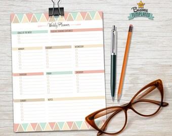 """Weekly planner printable, 2016 planner, agenda, week organizer printable, Life Planner, 8.5""""x11"""" Planner Pages –  PDF Instant download"""