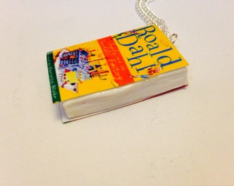 Roald dahl inspired charlie and the chocolate factory book necklace