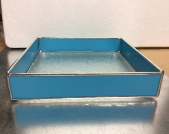 Aqua Dinner Napkin Holder for 6-1/2 Napkins Stained Glass
