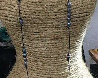 Freshwater Pearl Leather Long Necklace