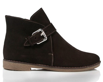 Brown Suede Flat Ankle Boots