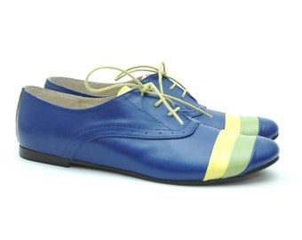 Deea Blue Leather Oxford Shoes