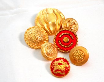 Vintage Gold metal button Lot, Antique Gold buttons, Gold metal buttons, Gold and Red, Coat Buttongs, Lot of Gold Buttons