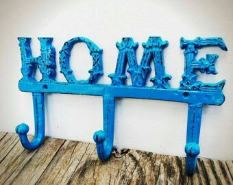 BOLD ornate Home sign hook//spa blue//towel coat hook//rustic cottage shabby chic//key jewelry hook//multi hook