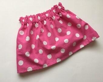 Pink & White Polka Dot Skirt Newborn / Baby / Toddler