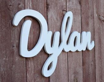 Dylan Baby Name Wooden Sign, Nursery letters, Wooden letters, Baby name sign, Wooden name plaque, Wood letters, Cursive name sign