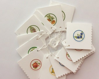 Hanging Gift Tags Package  of 12 Assorted Florals and Fruits Blank Folded Gift Tags Handmade GIft Tags