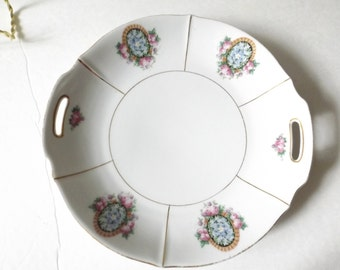 Vintage Bavaria Handled Floral Plate - with Gold trim Shabby roses