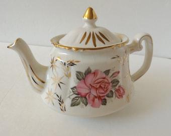 Price Kensington Potteries China Teapot England Roses, Vintage Porcelain Teapot