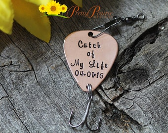 Personalized Fishing Lure - Engagement, Wedding, or Birthday Fishing Gift - Catch of My Life with Custom Date
