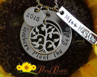 Custom Teachers Necklace - Teachers Plant the Seeds Necklace - Teacher's Name and Year - Stainless Washer Necklace - Teacher's Present