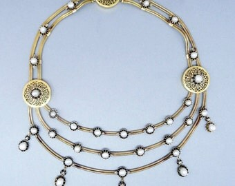 Antique Victorian French Necklace 18k Gold Natural Pearls Diamonds (#5841)