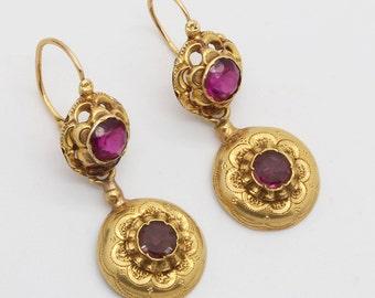 Antique Victorian Earrings Ear Pendants 18k Gold Garnets Etruscan Revival (#6097)