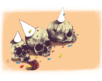 Life of the Party - Skull Illustration