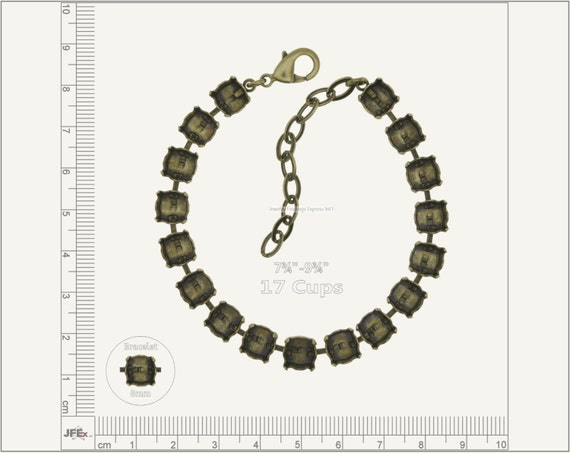 1 pc.+ 17 Cups, SS39 (8mm) Empty Cup Chain for Bracelet - Antique Brass