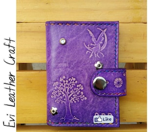 Leather card wallet, Credit Card holder, credit card organiser, handmade and hand stitched, violet,  purple leather,fairy, flower, bubble