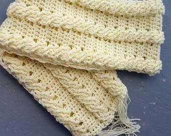 CROCHET PATTERN;  Cable Crochet Scarf; Crochet Scarf Pattern; Cable Crochet;